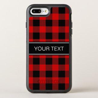 DIY BGの赤い黒いバッファローの格子縞の名前のモノグラム オッターボックスシンメトリーiPhone 8 PLUS/7 PLUSケース