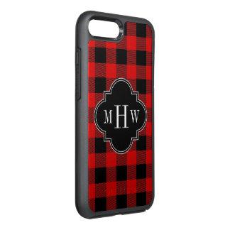 DIY BGの赤い黒いバッファローの格子縞3Iのモノグラム オッターボックスシンメトリーiPhone 8 PLUS/7 PLUSケース
