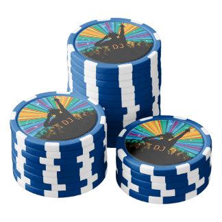 DJのイラストレーションのカスタムなモノグラムのポーカー用のチップ ポーカーチップ