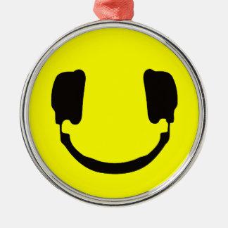 DJのスマイリー シルバーカラー丸型オーナメント