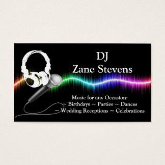 DJのマイクロフォンのヘッドホーンの名刺のテンプレート 名刺