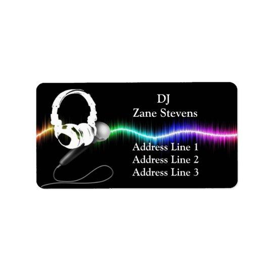 DJのマイクロフォンのヘッドホーンの宛名ラベル ラベル