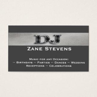 DJの灰色のストライプの銀の名刺のテンプレート 名刺