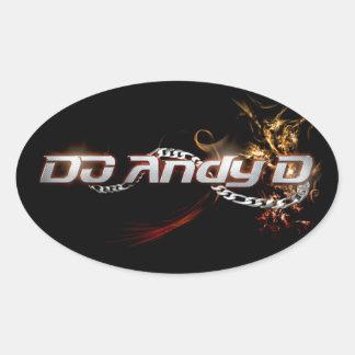 DJアンディーDの楕円形のステッカーX4 (Fireyのロゴ) 楕円形シール