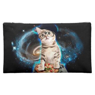 dj猫-宇宙猫-猫ピザ-かわいい猫 コスメティックバッグ