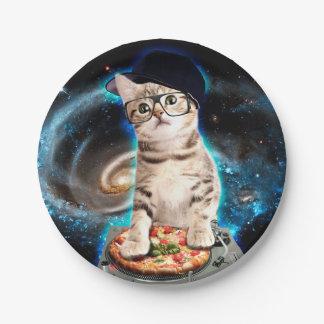 dj猫-宇宙猫-猫ピザ-かわいい猫 ペーパープレート