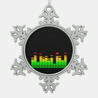 DJ音楽黒のビートからの平衡装置の感情 スノーフレークピューターオーナメント