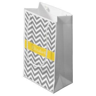 Dkの灰色白LGシェブロンのパイナップル名前のモノグラム スモールペーパーバッグ
