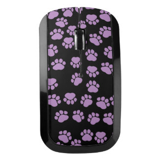 Dog Trails, Pattern With Dog Paws - Purple Black ワイヤレスマウス
