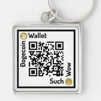 Dogecoinの財布QRコード正方形Keychain キーホルダー