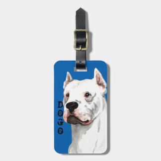 Dogo Argentino色のブロック ラゲッジタグ