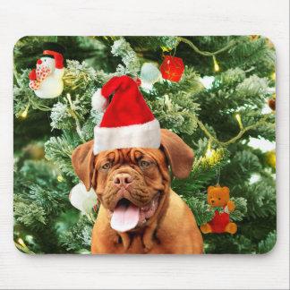 Dogue de Bordeauxのクリスマスツリーの雪だるまのギフト用の箱 マウスパッド