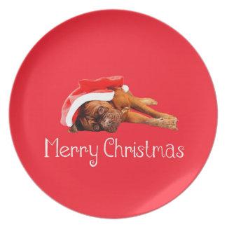 Dogue De Bordeauxサンタの帽子のメリークリスマス プレート