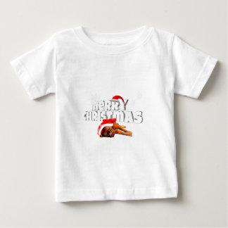 Dogue de Bordeaux犬のサンタの帽子のメリークリスマス ベビーTシャツ