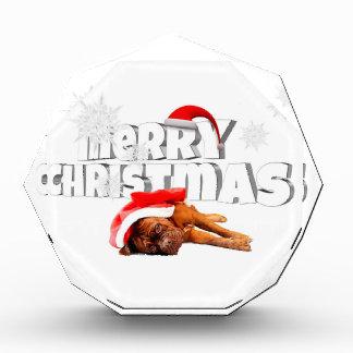 Dogue de Bordeaux犬のサンタの帽子のメリークリスマス 表彰盾