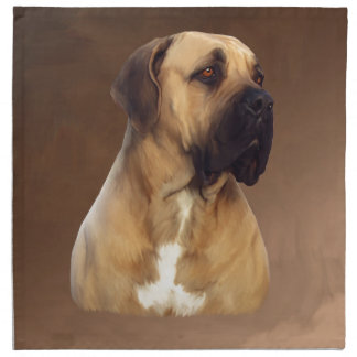 Dogue De Bordeaux Mastiff犬のポートレートの絵画 ナプキンクロス