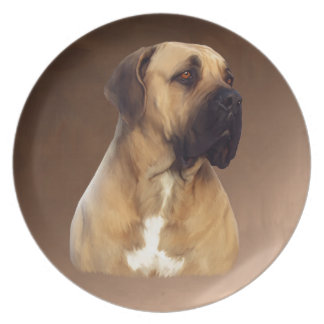 Dogue De Bordeaux Mastiff犬のポートレートの絵画 プレート