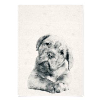 Dogue de Bordeaux Puppyの水彩画5x7のプリント 12.7 X 17.8 インビテーションカード