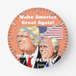 Donald Trump and Pence.Make America Great Again. ラウンド壁時計