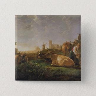 Dordrechtの遠い眺め 5.1cm 正方形バッジ
