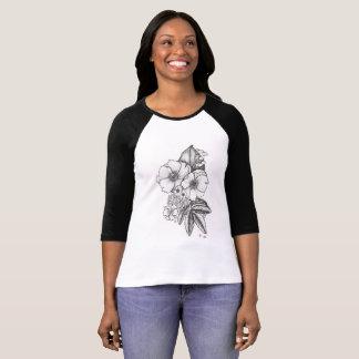 Dotworkの野生のバラの野球のティー Tシャツ