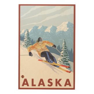 Downhhillの雪のスキーヤーのヴィンテージ旅行ポスター ウッドウォールアート