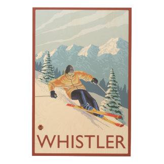 Downhhillの雪のスキーヤー-ホイスラー、紀元前にカナダ ウッドウォールアート
