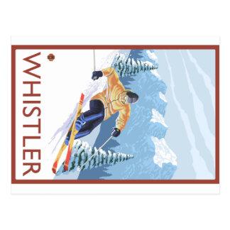 Downhhillの雪のスキーヤー-ホイスラー、紀元前にカナダ ポストカード