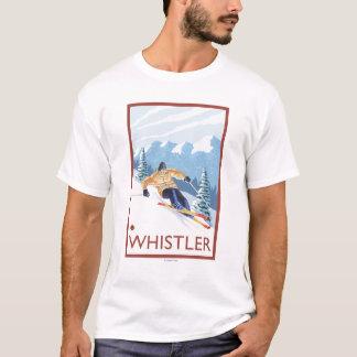 Downhhillの雪のスキーヤー-ホイスラー、紀元前にカナダ Tシャツ