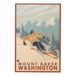 Downhhillの雪のスキーヤー-ワシントン州、山のパン屋 ウッドウォールアート