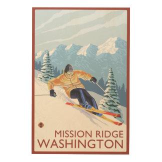 Downhhillの雪のスキーヤー-代表団リッジ、ワシントン州 ウッドウォールアート
