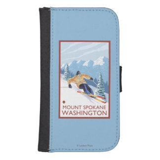 Downhhillの雪のスキーヤー-山スポケーン、 ウォレットケース