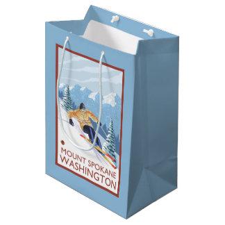 Downhhillの雪のスキーヤー-山スポケーン、 ミディアムペーパーバッグ