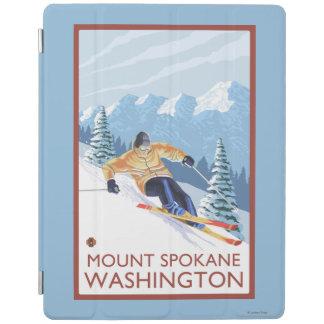 Downhhillの雪のスキーヤー-山スポケーン、 iPadスマートカバー