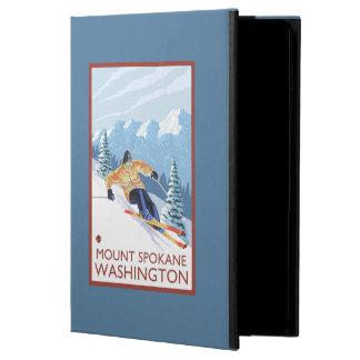 Downhhillの雪のスキーヤー-山スポケーン、 iPad Airケース