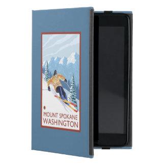 Downhhillの雪のスキーヤー-山スポケーン、 iPad Mini ケース