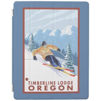 Downhhillの雪のスキーヤー-樹木限界線ロッジ、オレゴン iPadスマートカバー