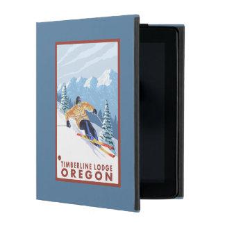 Downhhillの雪のスキーヤー-樹木限界線ロッジ、オレゴン iPad ケース