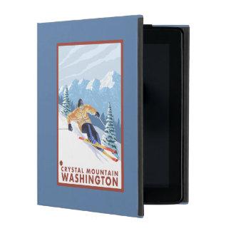 Downhhillの雪のスキーヤー-水晶山、WA iPad ケース