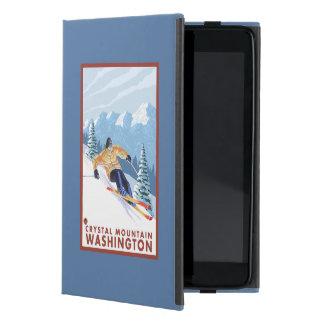 Downhhillの雪のスキーヤー-水晶山、WA iPad Mini ケース