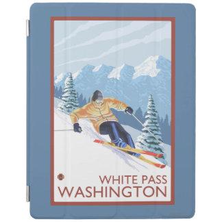 Downhhillの雪のスキーヤー-白いパス、ワシントン州 iPadスマートカバー