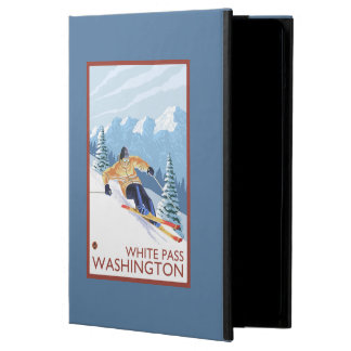 Downhhillの雪のスキーヤー-白いパス、ワシントン州 iPad Airケース
