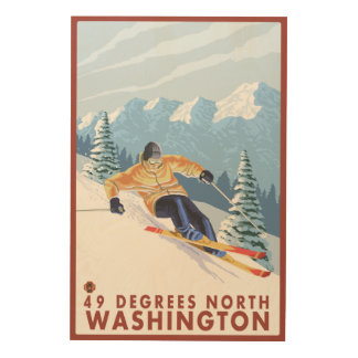 Downhhillの雪のスキーヤー- 49度北、WA ウッドウォールアート