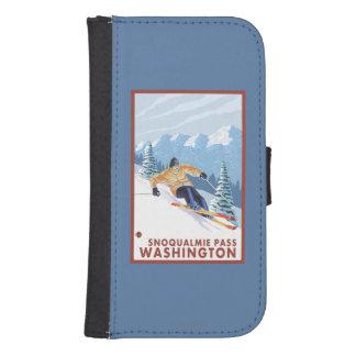 Downhhillの雪のスキーヤー- Snoqualmieのパス、WA ウォレットケース