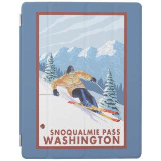 Downhhillの雪のスキーヤー- Snoqualmieのパス、WA iPadスマートカバー