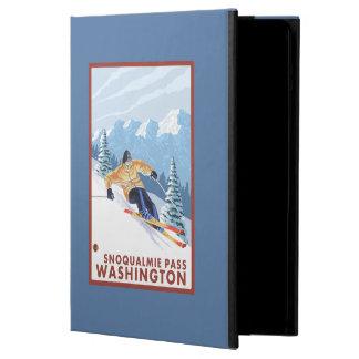 Downhhillの雪のスキーヤー- Snoqualmieのパス、WA iPad Airケース
