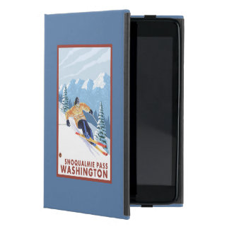 Downhhillの雪のスキーヤー- Snoqualmieのパス、WA iPad Mini ケース