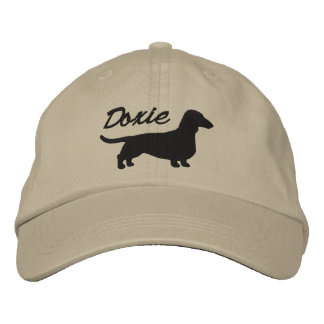 Doxieのダックスフントのシルエット 刺繍入りキャップ