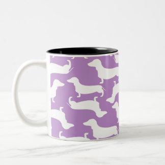 Doxie愛のためのかわいいダックスフントパターン完全なギフト ツートーンマグカップ