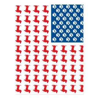 Doxie米国旗のため暗闇 ポストカード